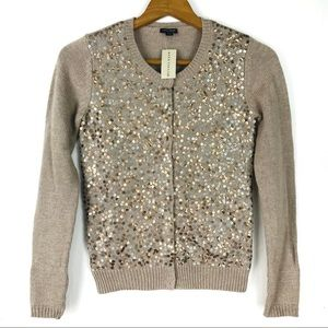 Ann Taylor Sequin Snap Front Cardigan Sweater